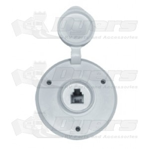 Prime Products White Round Single Phone Receptacle