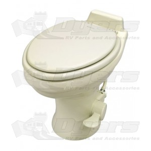 Dometic Low Profile ReVolution 321 Bone Elongated Deep Ceramic Foot Flush Toilet With Hand Spray