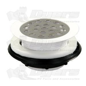 """JR 2"""" White Plastic Grid Shower Strainer"""