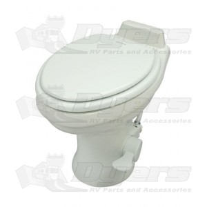 Dometic Low Profile ReVolution 321 White Elongated Deep Ceramic Foot Flush Toilet With Hand Spray