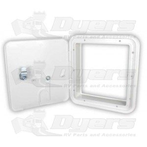 JR Large Polar White Locking RV Electrical Hatch