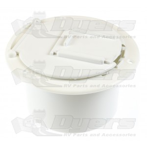 JR Products Polar White Round Electric Cable Hatch