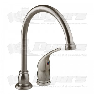 Superieur DURA Brushed Satin Nickel Pedestal Goose Neck RV Kitchen Faucet