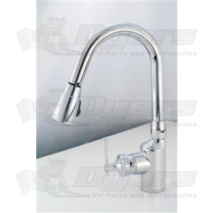 American Brass Company Chrome Front Single Lever Gooseneck Pull Out Kitchen  Kitchen Faucet