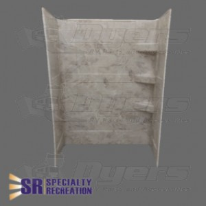 "Specialty Recreation 24"" x 36"" x 66"" Grand Teton Brown and Gold Travertine Pattern Shower Surround"