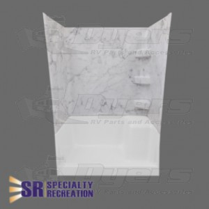 """Specialty Recreation 24"""" x 32"""" x 66"""" Great Smokey Mountain Gray and White Marble Shower Surround"""