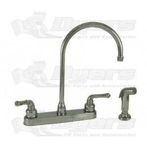Empire Brass Company Chrome Teapot Handle Gooseneck Kitchen Faucet with Spray Kit