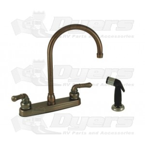 Empire Brass Company Oil Rubbed Bronze Teapot Handle Gooseneck Kitchen Faucet with Spray Kit