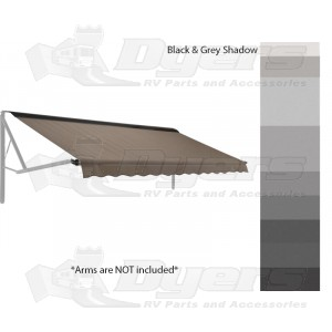 Dometic WeatherPro Woven Acrylic Awning 12' Black & Gray Shadow with Champagne Hardware