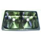 "LaSalle Bristol Stainless Steel 25"" x 15"" x 5""  Double Sink"