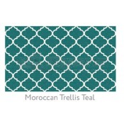 Ruggable 2-1/2' x 7' Moroccan Trellis Teal Polyester Two Piece Rug System