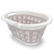 Camco Collapsible Laundry Basket Small White/Taupe