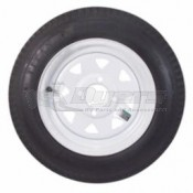 Load Star ST205/75R14 Radial Tire & Wheel - White/Pinstripes Spoke Rim