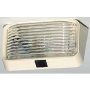 Bargman Compact Polar White/Clear Porch Light with Switch