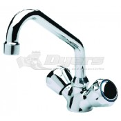 Scandvik Chrome Plated Brass Galley Mixer Faucet With Swivel Spout, Standard Knob