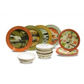 Camp Casual 12 Piece Melamine Camping Themed Dish Set
