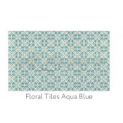 Ruggable 3' x 5' Floral Tiles Aqua Blue Polyester Two Piece Rug System