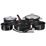 Magma 18-10 Stainless Steel Jet Black Enamel Finish W/ Ceramica® Non-Stick Nesting Cookware 10-Piece Set