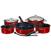 Magma 18-10 Stainless Steel Magma Red Enamel Finish W/ Ceramica® Non-Stick Nesting Cookware 10-Piece Set
