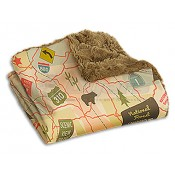Camp Casual The Throw - Travel Map In Vintage Print/Moss
