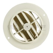 "D&W Off White 4"" Round Register Outlet Vent With Damper"