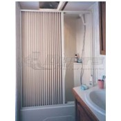 "Irvine 48"" x 57"" Ivory Folding Shower Doors"