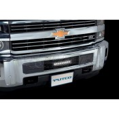 "Putco Bumper Grille Inserts - Chevrolet Silverado HD- Stainless -Black Punch Design Bumper Grille with curved flush 10"" Light Bar"