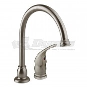 DURA Brushed Satin Nickel Pedestal Goose Neck RV Kitchen Faucet