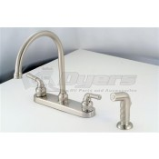 American Brass Company Brushed Nickel Teapot Handle Gooseneck Kitchen Faucet with Spray Kit