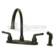 American Brass Company Oil Rubbed Bronze Teapot Handle Gooseneck Kitchen Faucet with Spray Kit