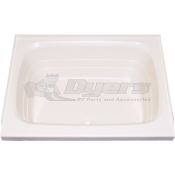 """Mobile Outfitters 32"""" x 24"""" White Front Center Drain Shower Pan"""