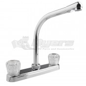 DURA Hi-Rise Chrome RV Kitchen Faucet with Clear Knobs