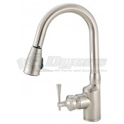 American Brass Company Brushed Nickel Front Single Lever Gooseneck Pull-Out Kitchen Faucet