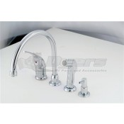 American Brass Company Chrome Single Lever Gooseneck Kitchen Faucet with Spray and Soap Kit