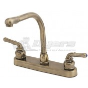 Empire Brass Company Antique Brass Teapot Handle High Rise Kitchen Faucet
