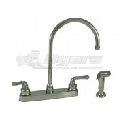 Empire Brass Company Chrome Teapot Handle Gooseneck Kitchen Faucet with Spray Kit